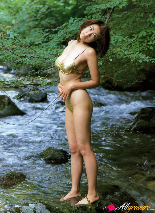 Naoko Inoue Asian Eposes Nude Curves On Rocks And In The River