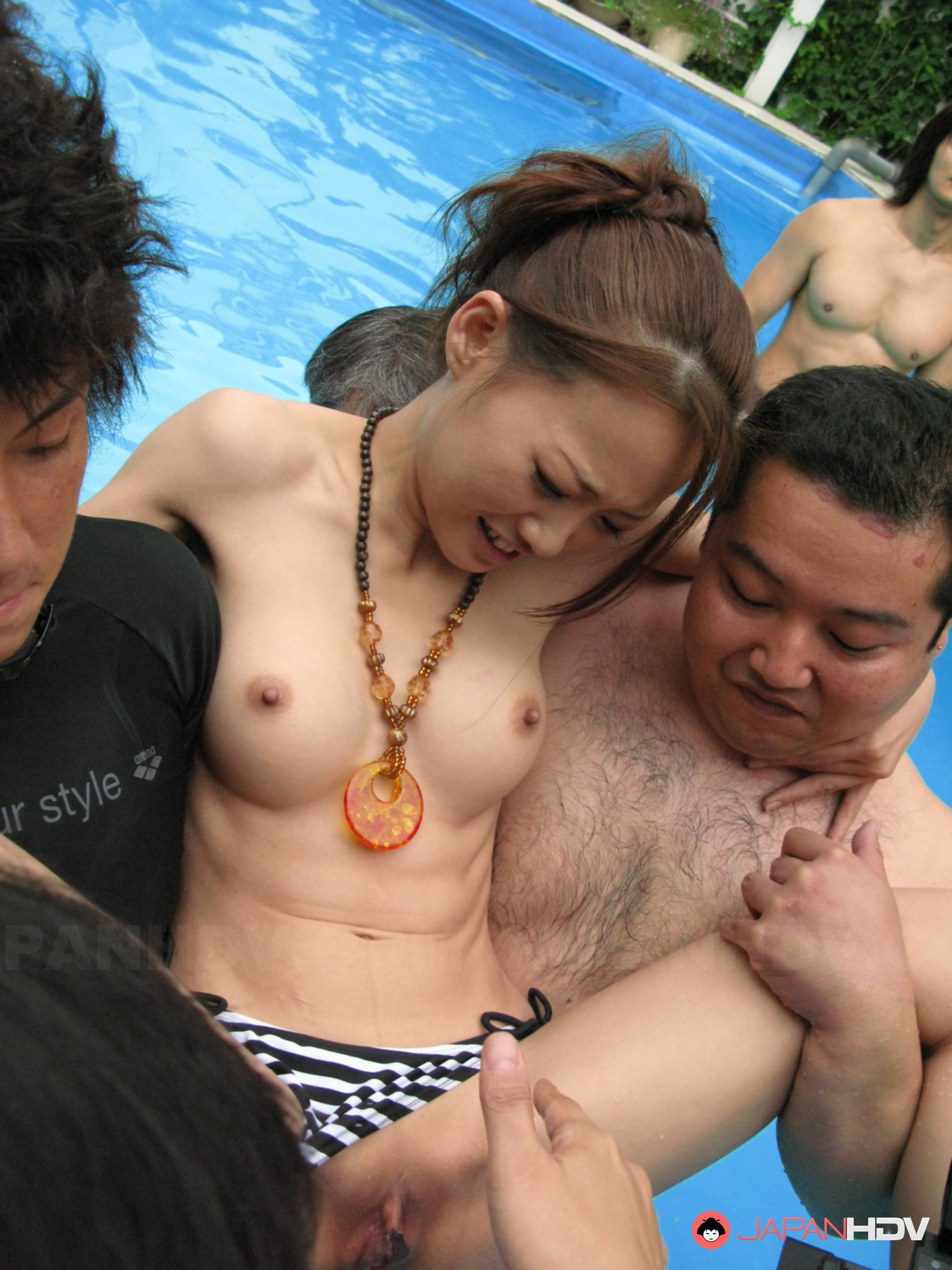Group nude pool japanese girl